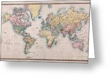 Old World Map On Mercators Projection Greeting Card