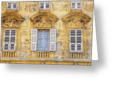 Old Yellow Building With Lace Curtain In Nice, France Greeting Card