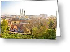 Old Zagreb Panorama In Morning Fog Greeting Card