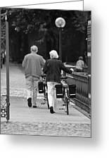 Older Couple In The Park Greeting Card