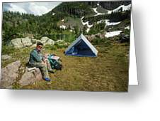 Older Man Resting In Backpacking Camp Greeting Card