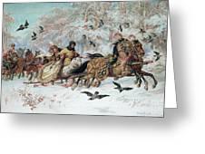 Olenka And Kmicic In A Sleigh, 1885 Greeting Card