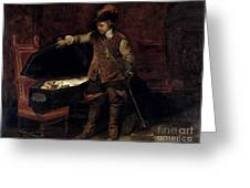 Oliver Cromwell Opening The Coffin Of Charles I  Greeting Card