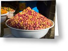 Olives For Sale In Market, Essaouira Greeting Card