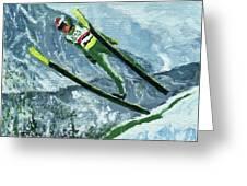Olympic Ski Jumper Greeting Card