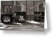 Olyphant Pa Coal Breaker Loading Trucks And Gondola Car Winter 1971 Greeting Card