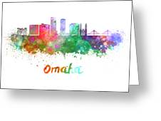 Omaha V2  Skyline In Watercolor  Greeting Card