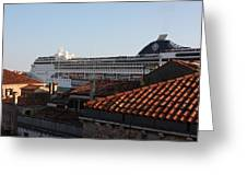 Omg There Is A Cruise Ship In My Backyard Greeting Card