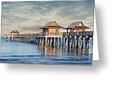 On A Cloudy Day At Naples Pier Greeting Card