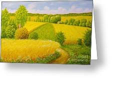 On August Grain Fields Greeting Card
