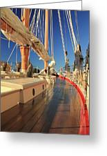 On Deck Of The Schooner Eastwind Greeting Card