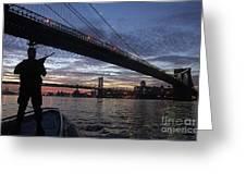 On Duty By Brooklyn Bridge New York Greeting Card