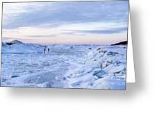 On Lake Michigan Ice Greeting Card