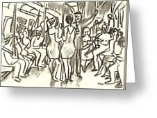 On The A, New York City Subway Drawing Greeting Card
