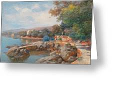 On The Beach Of Abbazia Greeting Card