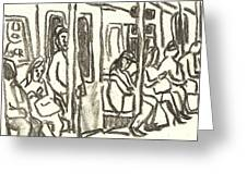 On The C Train, Nyc Greeting Card