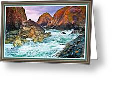 On The Coast Of Cornwall L A With Decorative Ornate Printed Frame. Greeting Card
