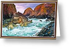 On The Coast Of Cornwall L B With Decorative Ornate Printed Frame. Greeting Card
