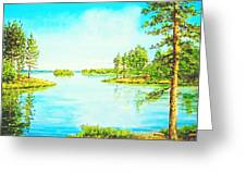 On The Lake In A Sunny Day 2 Greeting Card