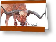 On The Level Texas Longhorn Watercolor Painting By Kmcelwaine Greeting Card