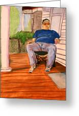 On The Porch With Uncle Pervy Greeting Card
