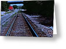 On The Railroad Tracks Greeting Card