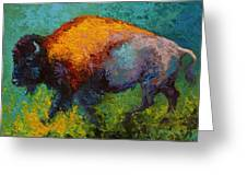 On The Run - Bison Greeting Card by Marion Rose