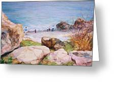 On The Shore Of The Ocean Greeting Card