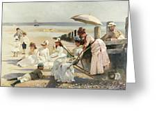 On The Shores Of Bognor Regis Greeting Card by Alexander M Rossi