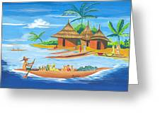 On The Shores Of Lake Kivu In Congo Greeting Card