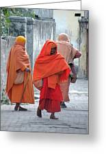 On The Way To Morning Prayers - India Greeting Card