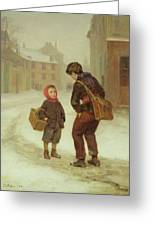 On The Way To School In The Snow Greeting Card