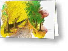 On The Yellow Road Greeting Card