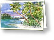 One-foot-island, Aitutaki Greeting Card by Judith Kunzle