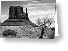 One Mitten Of Monument Valley Arizona - Black And White Greeting Card