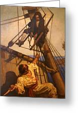 One More Step Mr. Hands - N.c. Wyeth Painting Greeting Card