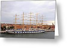 One Of Star Clipper's Masted Cruise Liners Docked In Venice Italy Greeting Card