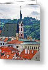 One Of The Churches In Cesky Kumlov In The Czech Republic Greeting Card
