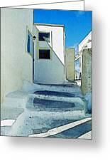 One Of The Streets Of Santorini Greeting Card