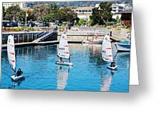 One-person Sailboats By The Commercial Pier In Monterey-california Greeting Card