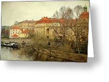 One Side On A River Greeting Card