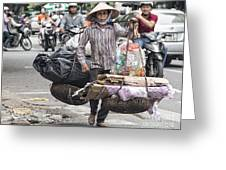 One Woman Street Life Hanoi Greeting Card