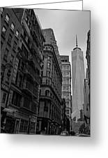 One World Trade Center New York Ny From Nassau Street Black And White Greeting Card
