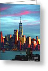 One World Trade Sunset Spectacle Greeting Card