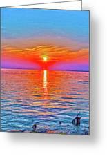 Oneida Lake Sunset Art Greeting Card