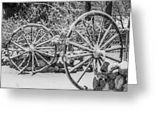 Oo Wagon Wheels Black And White Greeting Card