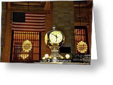 Opal Atomic Clock At Grand Central Greeting Card