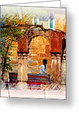 Open Air Bed Among The Arches India Rajasthan 1a Greeting Card