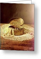 Open Jewelry Box With Pearls Greeting Card