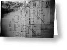 Open Sign Quadruple Multiple Exposure Holga Photography Greeting Card